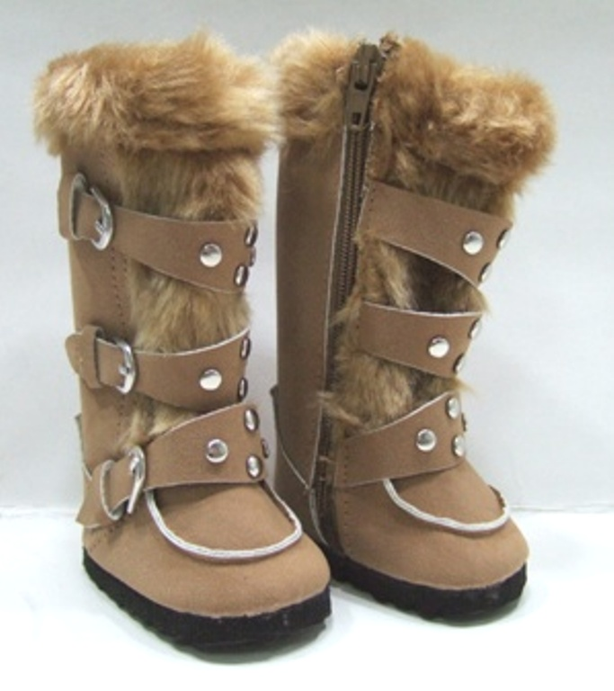 Camel Knee High Buckle Boots