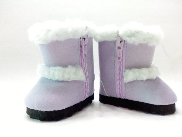 Lavender Faux Shearling Boots /