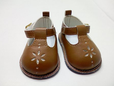 Brown Flower Mary Janes /